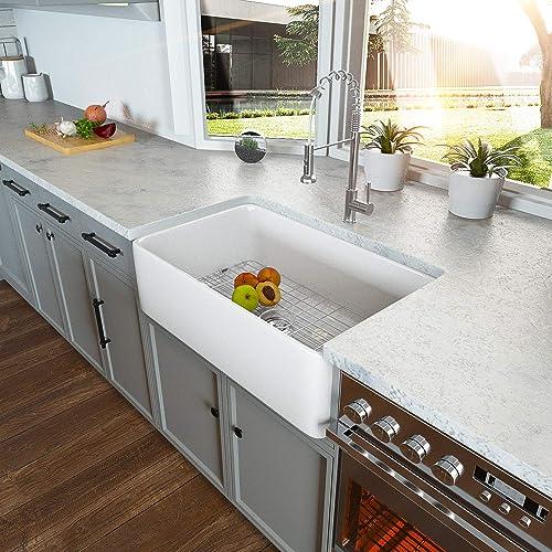 33 Farmhouse Sink – Kichae 33 Inch White Kitchen Sink Apron Front White Fireclay Ceramic Porcelain Single Bowl Farm Sink