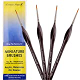 #1 Round Detail Paint Brush Set. Miniature Brushes for Detailing Art for Acrylic Watercolor Oil - Models, Airplane Kits, Craft, Rock Painting Artist Supplies. Pointed Artist Paintbrushes Fine Tip Seri