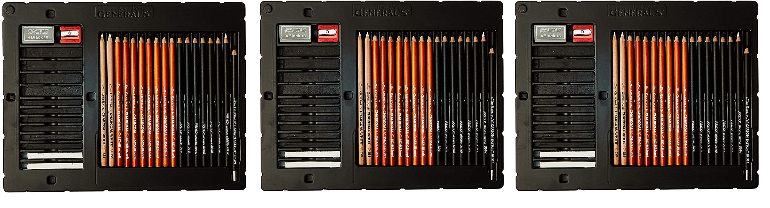 General 33-Piece Classic Charcoal Drawing Set (3-Pack, Multi)