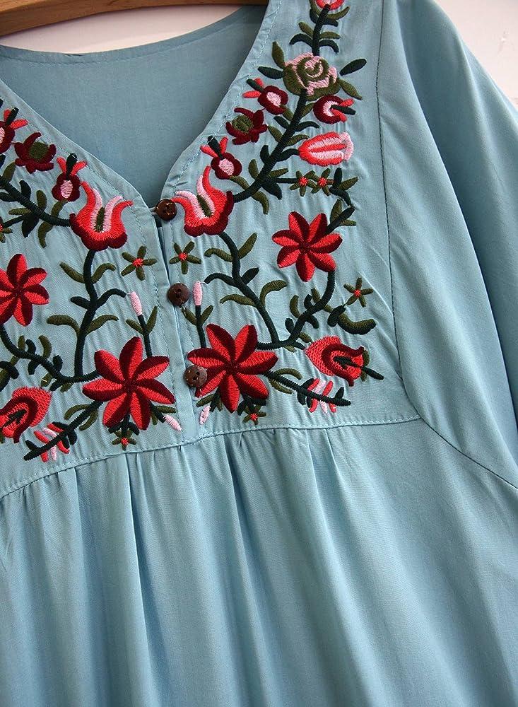 Doballa Mujeres Vestido de Mini Blusa Bohemia Mexicana Bordado ...