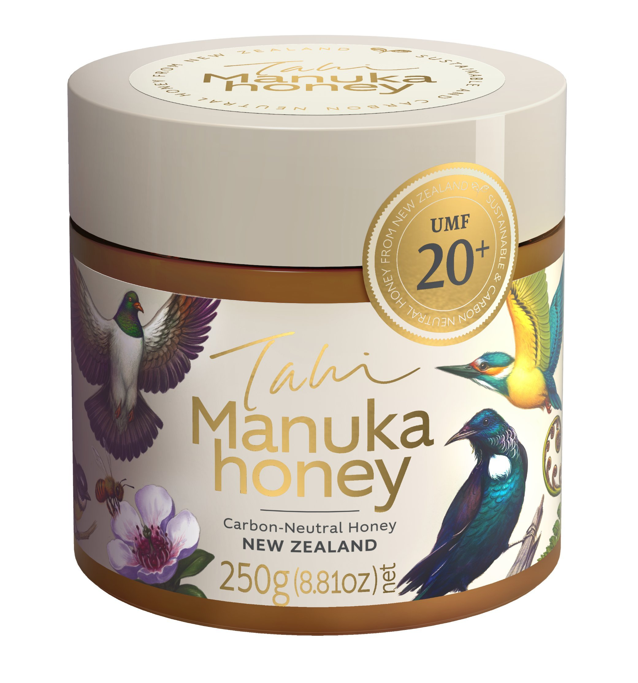 UMF 20+ certified Manuka Honey made in the wild in New Zealand by the eco-friendly bee-friendly people at Tahi (250gm)