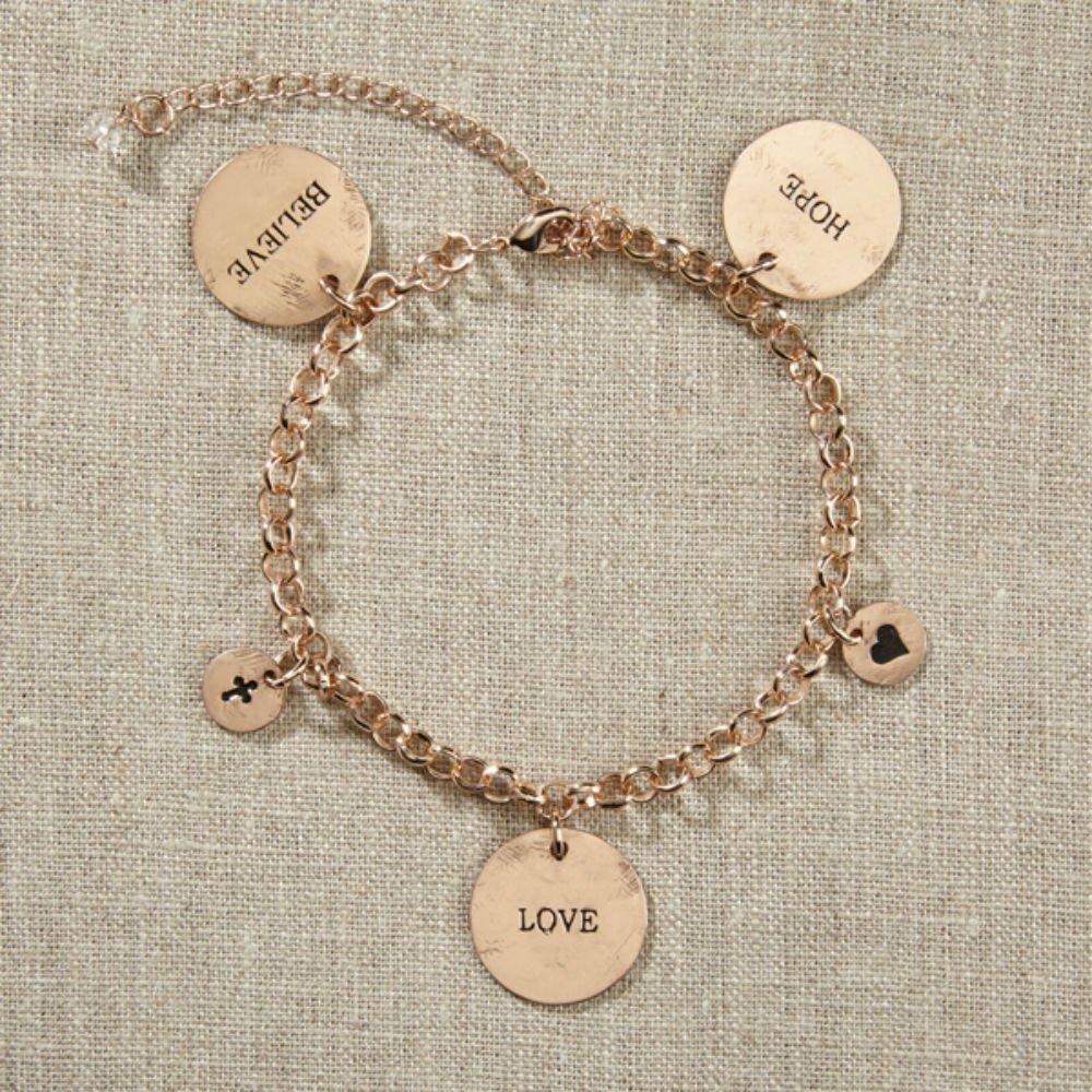 Set of 4 Grateful Heart- Gold Charm Bracelet by AT001