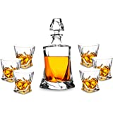Premium Crystal Whiskey Decanter Set, KANARS Hand Made Liquor Decanter with 6 Old Fashioned Glasses for Scotch, Bourbon or Wh