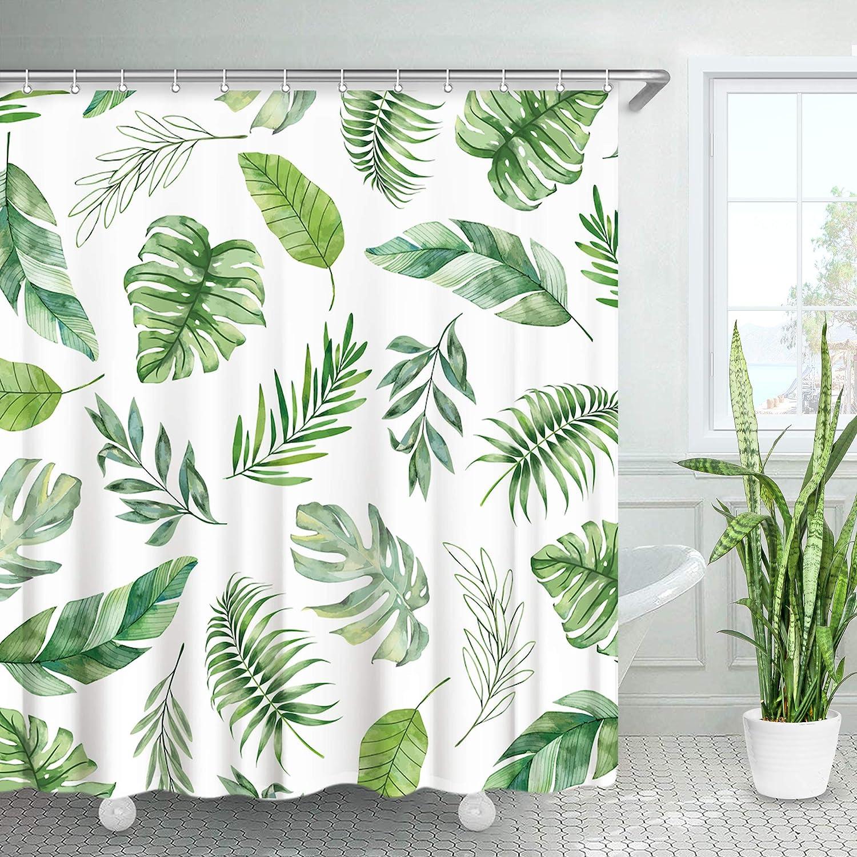 "Plant Tropical Palm Leaves Decor Bathroom Shower Curtain Fabric w//12 Hooks 71/"""