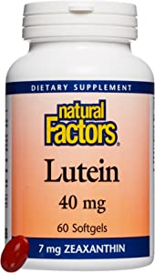 Natural Factors, Lutein 40 mg, 60 Softgels, Antioxidant Support for Healthy Eyes and Skin with Zeaxanthin, 60 Servings