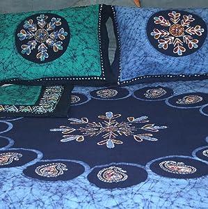 Handmade Cotton Reversible Duvet Cover Multi Batik Paisley Mandala 100% Cotton Queen King