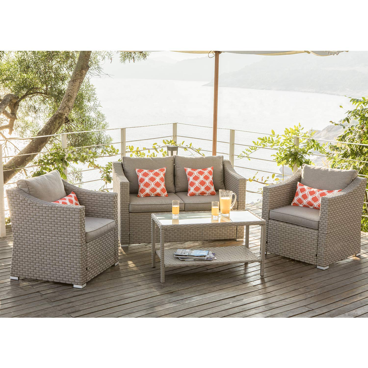 COSIEST 4-Piece Patio Furniture Sectional Sofa All-Weather Outdoor Wicker Conversation Set w Warm Gray Cushions, Glass Coffee Table, 4 Coral Pattern Pillows for Deck, Backyard, Pool