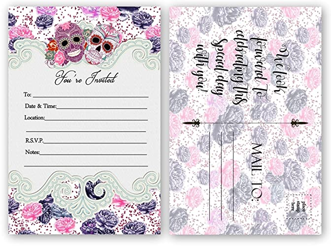 Amazon Com Sugar Skull Invitations Bridal Shower Wedding