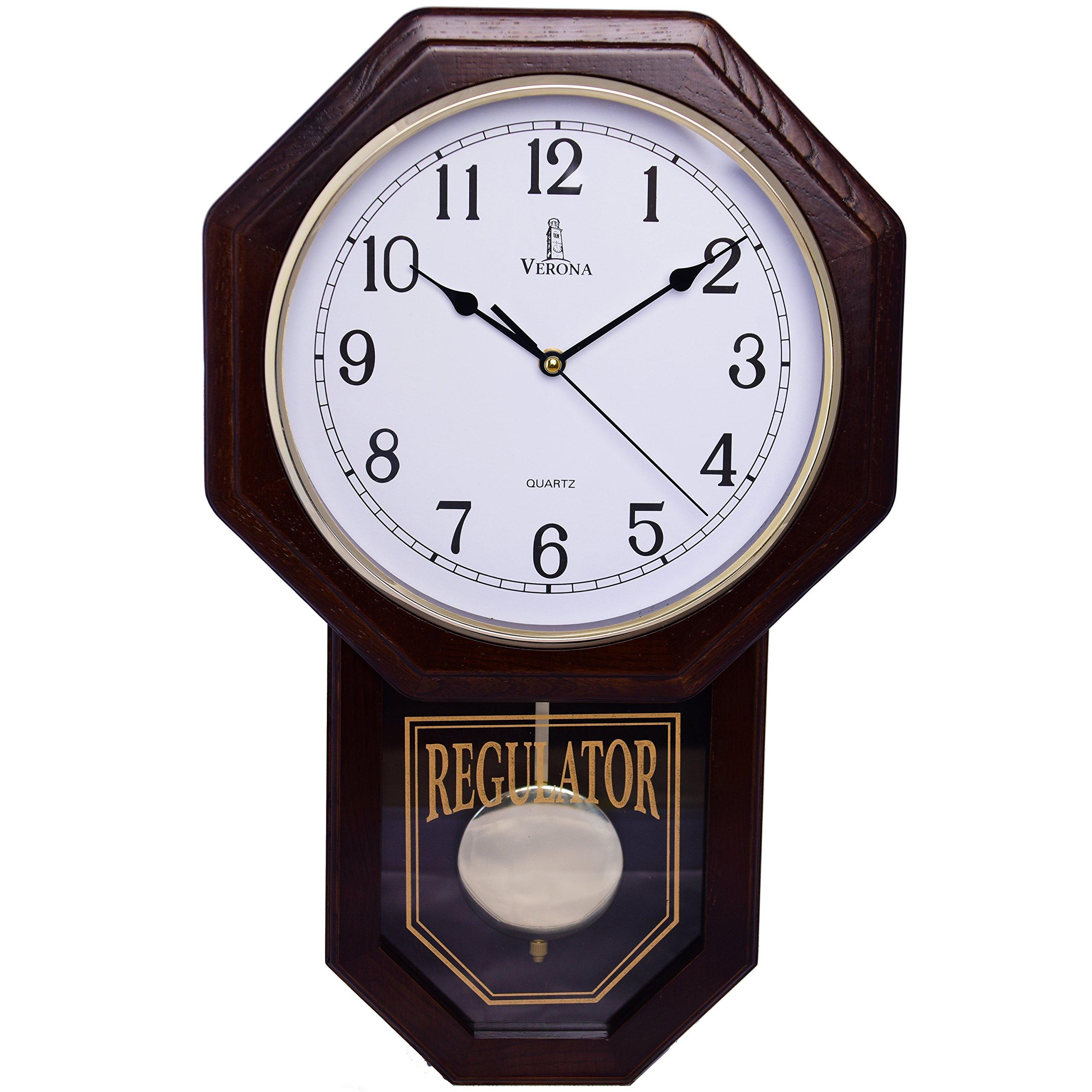 "Best Pendulum Wall Clock, Silent Decorative Wood Clock with Swinging Pendulum, Battery Operated, Schoolhouse Regulator Wooden Design, For Living Room, Bathroom, Kitchen & Home Décor, 18'' x 11.25"""