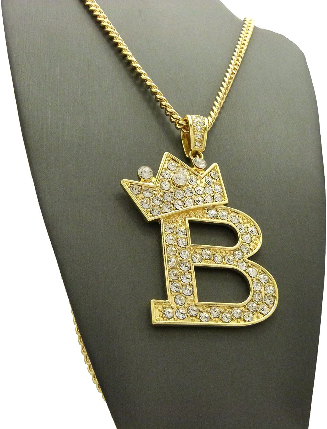 Silver Color Fashion 21 Iced Out King Crown B Pendant 5mm 24 Cuban Chain Necklace in Gold