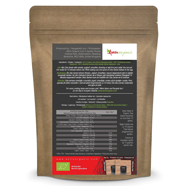 Semillas de Chia orgánica - 1kg - Aktiv Organic: Amazon.es: Salud y cuidado personal