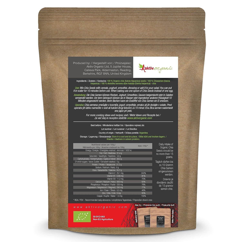 Semillas de Chia orgánica - 1kg - Aktiv Organic: Amazon.es: Salud ...