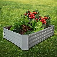 BATH KNOT Galvanized Steel Raised Garden Bed Kit Outdoor Metal Above Ground Planter Box for Vegetables Flowers Herbs and Plants, 4x3x1-Feet, Dark Grey