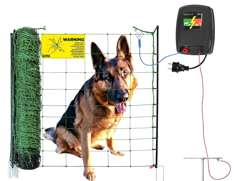 50 m Hundezaun DogFence 30 - anschlussfertig mit Netz (108 cm hoch), Weidezaungerät und Erdung - grünes Netz fällt in natürlicher Umgebung Nicht auf Eider Landgeräte GmbH