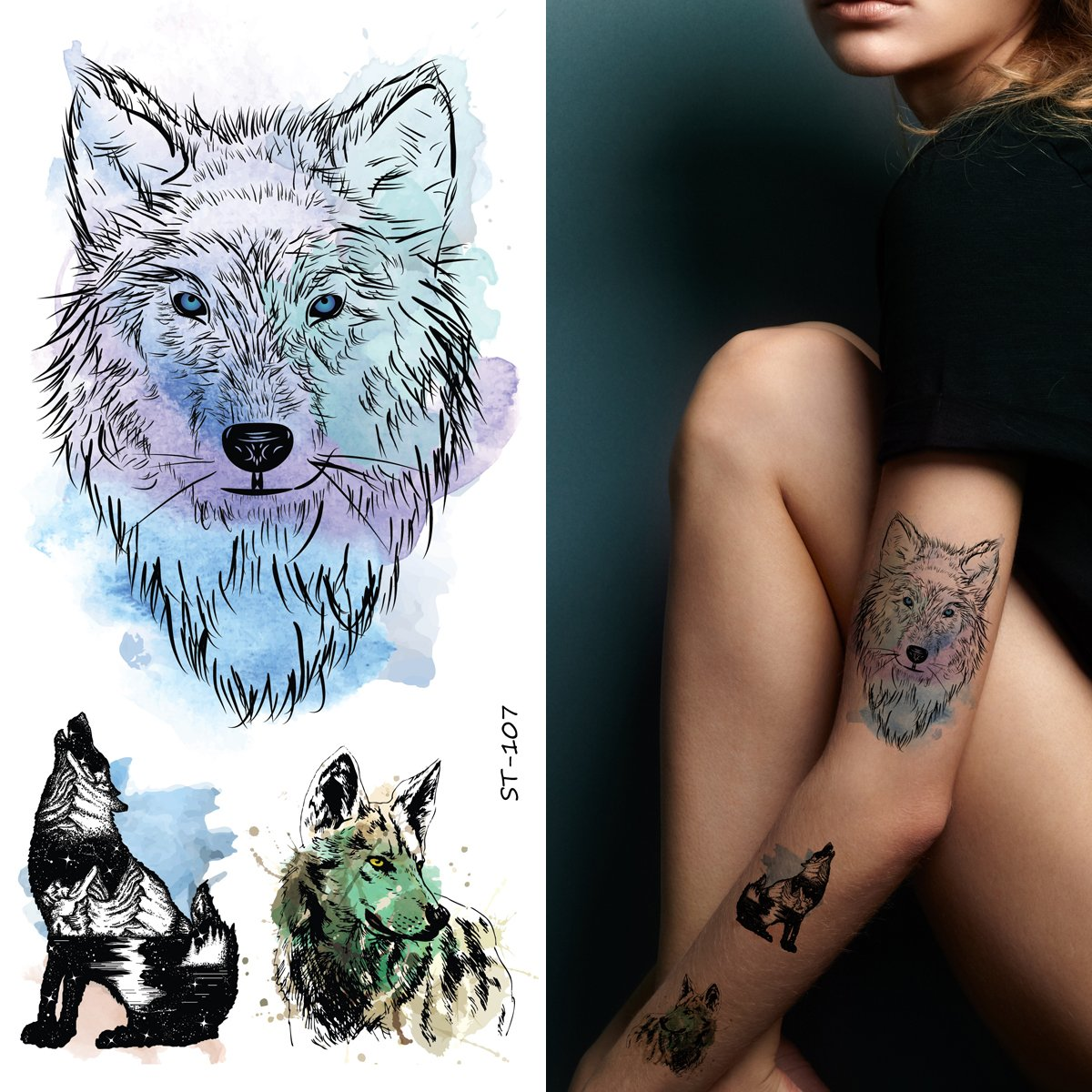 de78f9e1b Amazon.com: Supperb Mix Wolf Temporary Tattoos Watercolor Wolf Wolves Tattoo  (Set of 2): Beauty