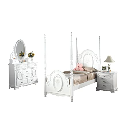 Amazon.com: Acme Furniture Flora 4-Piece Poster Bedroom Set ...