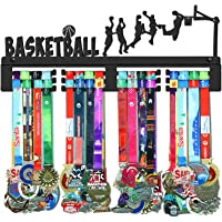 WEBIN Basketbal medaille hanger houder display rack, zwart super hard staal metaal, wandmontage meer dan 70 medailles