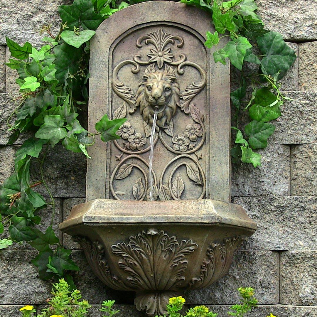 Amazon.com : Sunnydaze Decorative Lion Solar Wall Fountain, Florentine  Stone Finish, 25 Inch : Wall Mounted Garden Fountains : Garden U0026 Outdoor