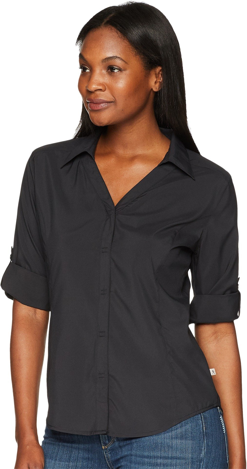 Royal Robbins Women's Expedition Dry Stretch 3/4 Sleeve, Jet Black, Small