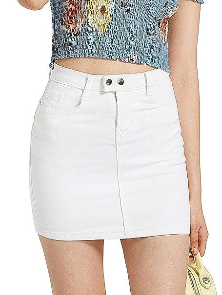2c72f42f1 SheIn Women's Solid Casual Denim A-Line Mini Bodycon Skirt X-Small White