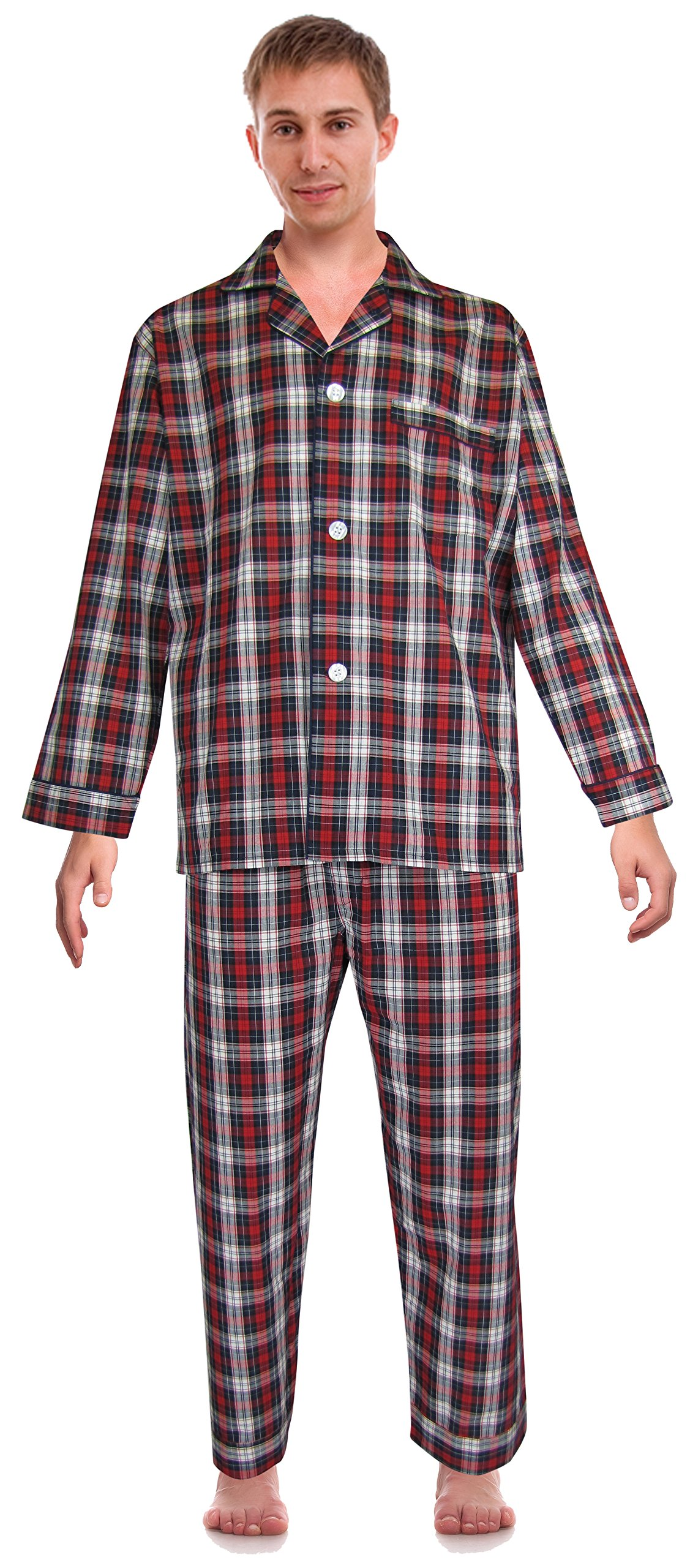 RK Classical Sleepwear Mens Broadcloth Woven Pajama Set, Size Small, Red, Plaid (0156)