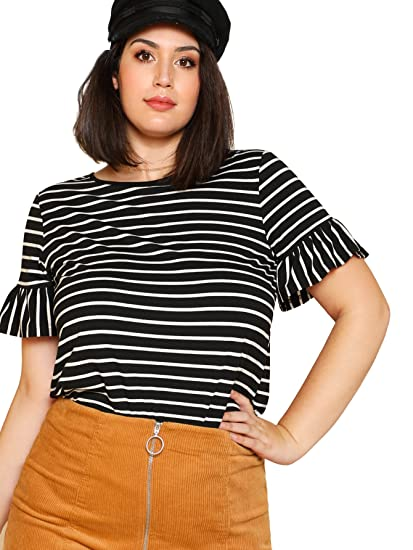 2c6db2031 Romwe Women's Plus Size Ruffle Trim Short Sleeve Black and White Striped Tee  Top Blouse T-Shirts at Amazon Women's Clothing store: