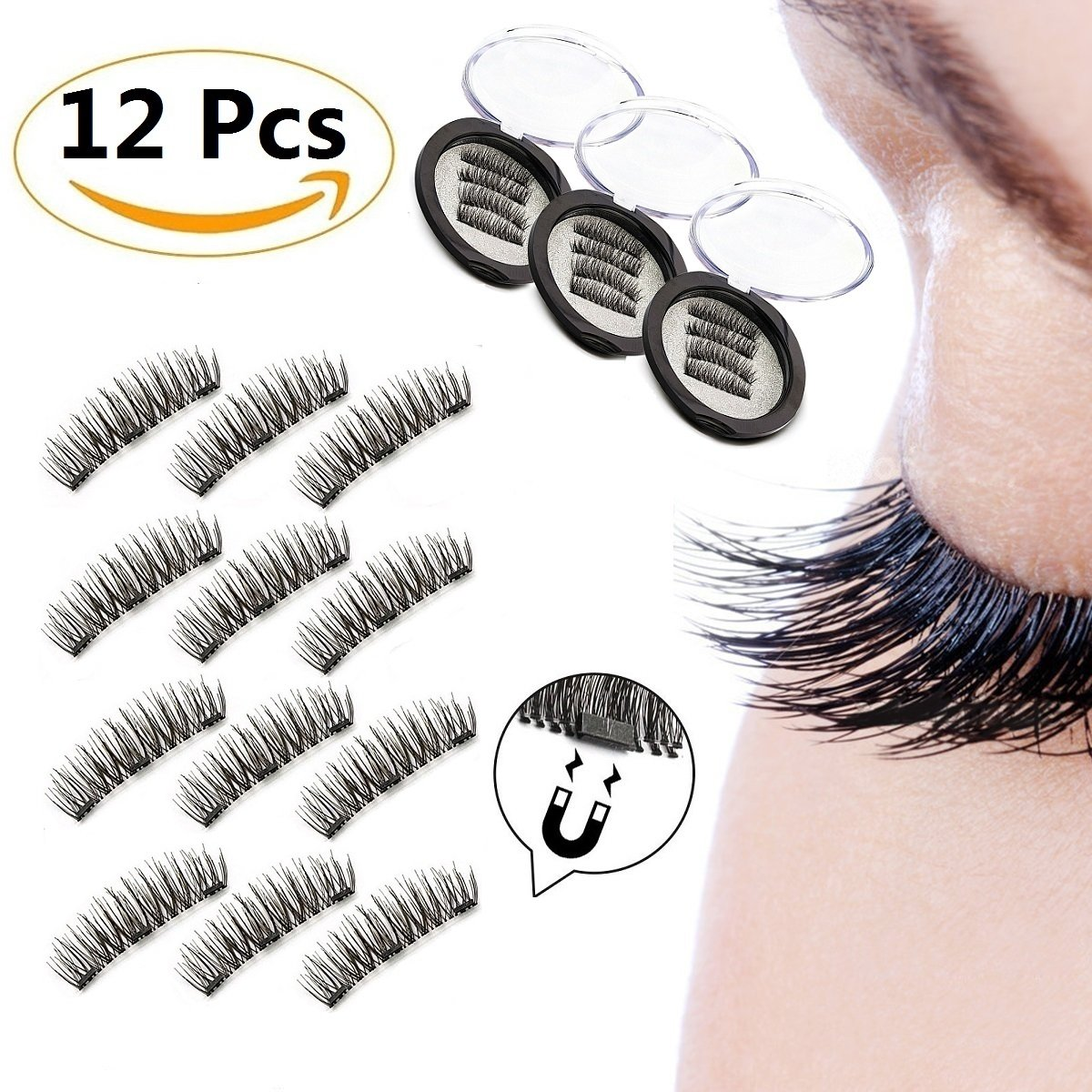 Amazon 12 Pieces Magnetic False Eyelashes Gp Beauty 3d