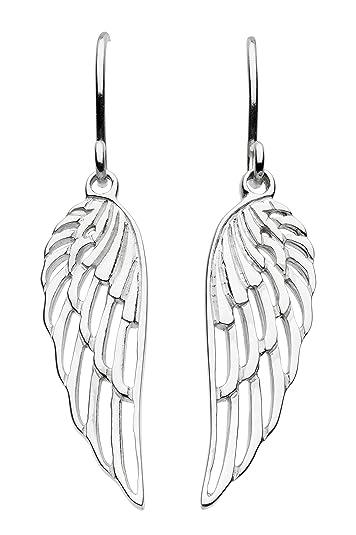 Dew Sterling Silver Angel Wings Drop Earrings S7bfoV