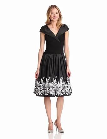 Jessica Howard Women's Sleeveless Portrait Collar Surplus Bodice Dress, Black, 8