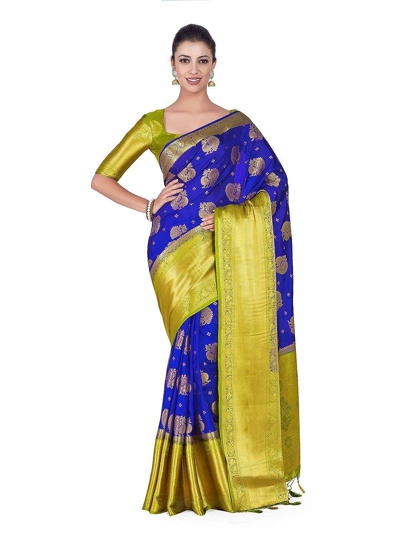 62bd7040c56957 Mimosa Art silk Wedding saree Kanjivarm Pattu style With Contrast Blouse  Color  Blue (4306-352-2D-RBLU-OLV)  Amazon.in  Clothing   Accessories