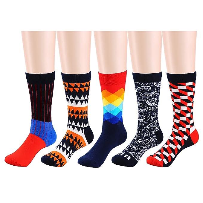 Calcetines de algodón suave de diseño de moda colorido de los hombres