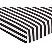Sweet Jojo Designs Fitted Crib Sheet for Paris Baby or Toddler Bedding - Black and White Stripe