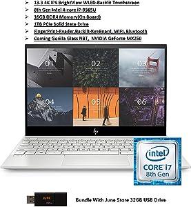 2020 Newest HP Ultra Slim Premium Envy 13 PC: 13.3 4K Ultra-HD Touchscreen, Intel Quad-Core i7, 16GB RAM, 1TB SSD, NVIDIA Geforce MX250, B&O Audio, WiFi, Bluetooth, FP-Reader, Win10, June 32GB USB Dr