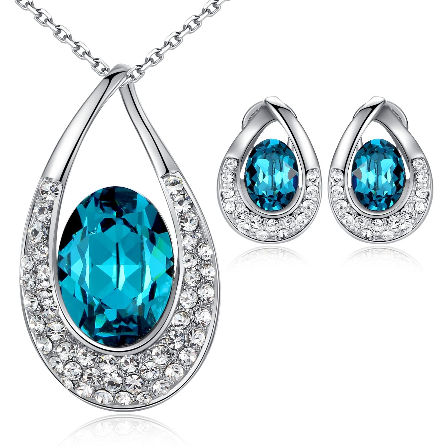 Leafael [Presented by Miss New York Angel's Teardrop Made with Swarovski Crystals Blue Zircon Jewelry Set Earrings Necklace, 18+ 2'', White Gold Pla