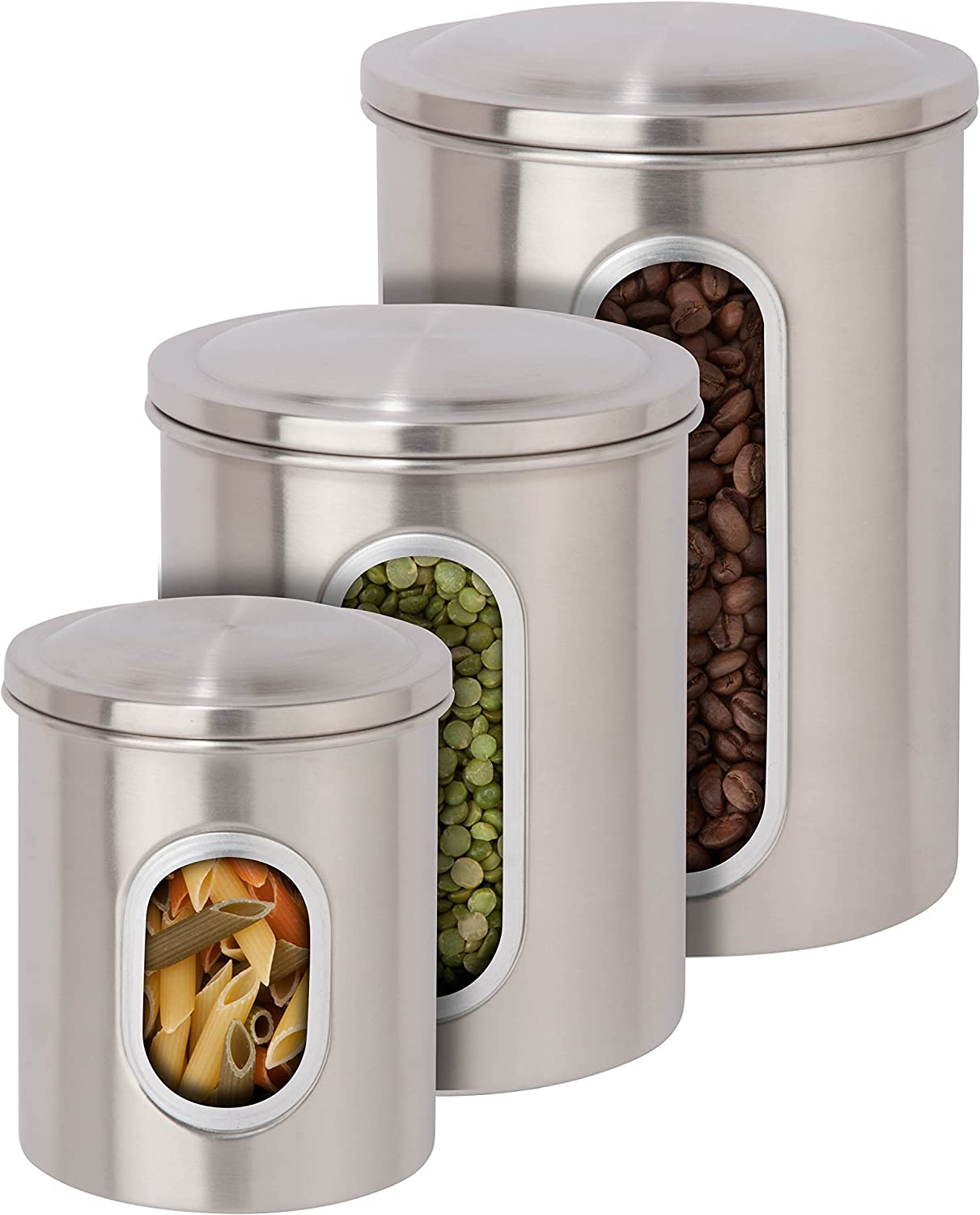 Honey-Can-Do 3-Piece Metal Nested Canister Storage Set, Steel