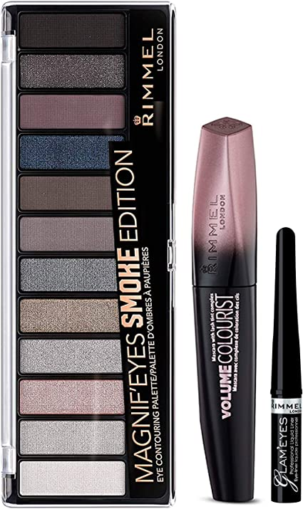 Rimmel London Pack look ojos (Incluye Paleta de Sombras Magnifeyes Palette Smoke Edition Tono 3, Delineador Liquido Tono 001-Black Glamour, Mascara de Pestañas Volume Colourist Tono Black 11 ml): Amazon.es: Belleza