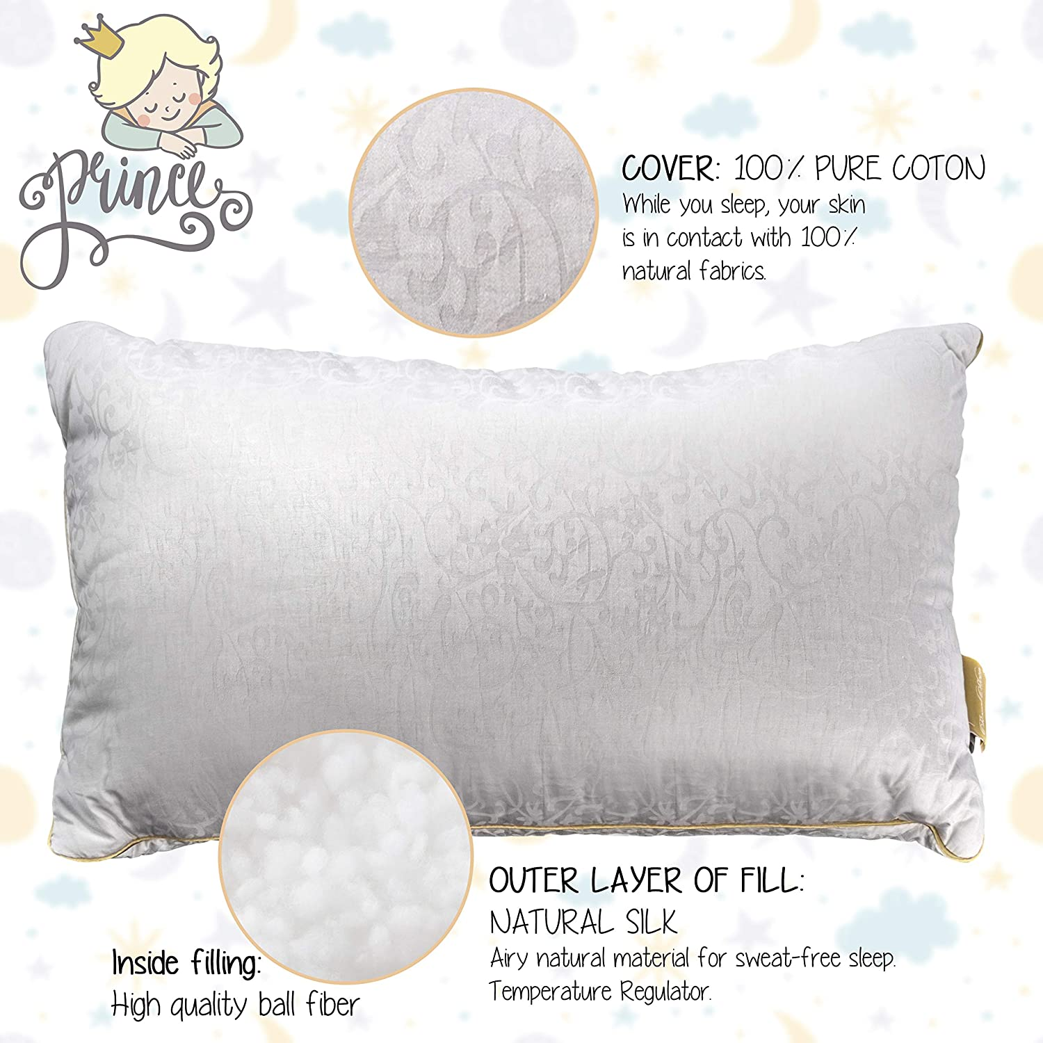Soft Childrens Pillow According to Oeko-Tex Standard 100 Hypoallergenic Baby Pillow for All Sleeping Positions Childrens Pillow 40 x 60 cm from 1 Year Healthy