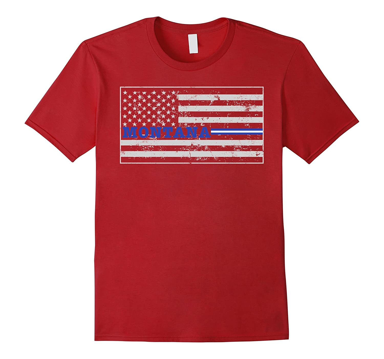 Montana Paramedic EMT Thin White Line Flag Shirt-TD