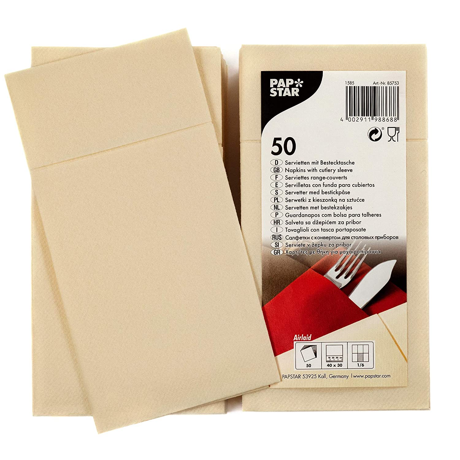 Amazon.com: Papstar Cloth-Like Paper Disposable Cutlery Pocket Sleeve Napkins, 16