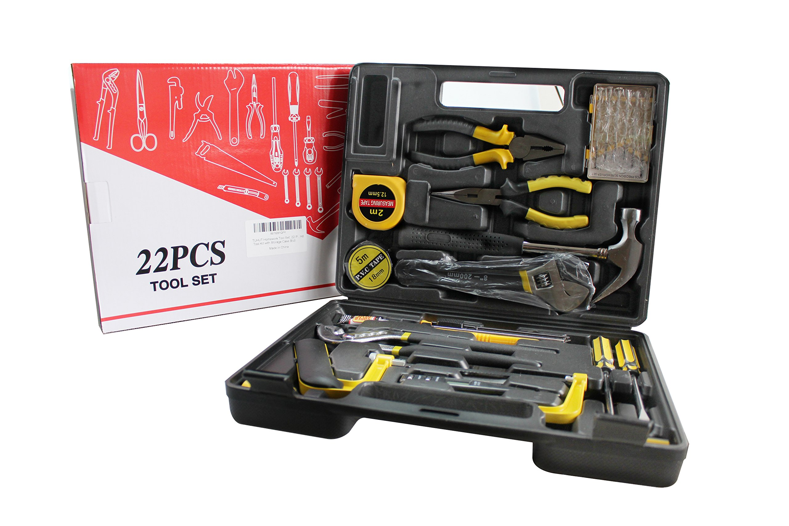 TUHUT Homework Tool Set, 22 Pieces General Household Small Hand Tool Kit with Storage Case