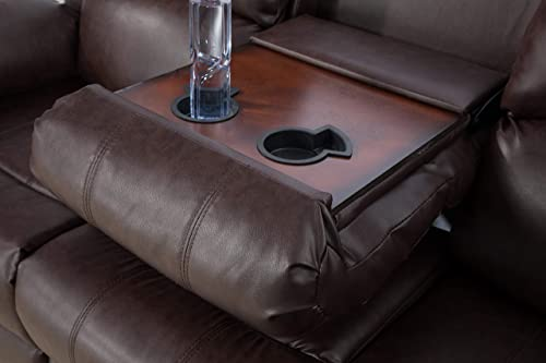 Lifestyle Furniture 3-Pieces Reclining Living Room Sofa Set,Drop Down Table,Bonded Leather,Brown LS2890-3PC