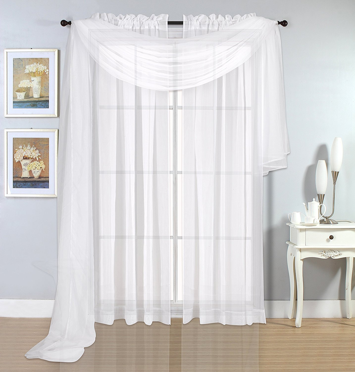 White Sheer Scarves - Sheer Curtains - White Luxurious