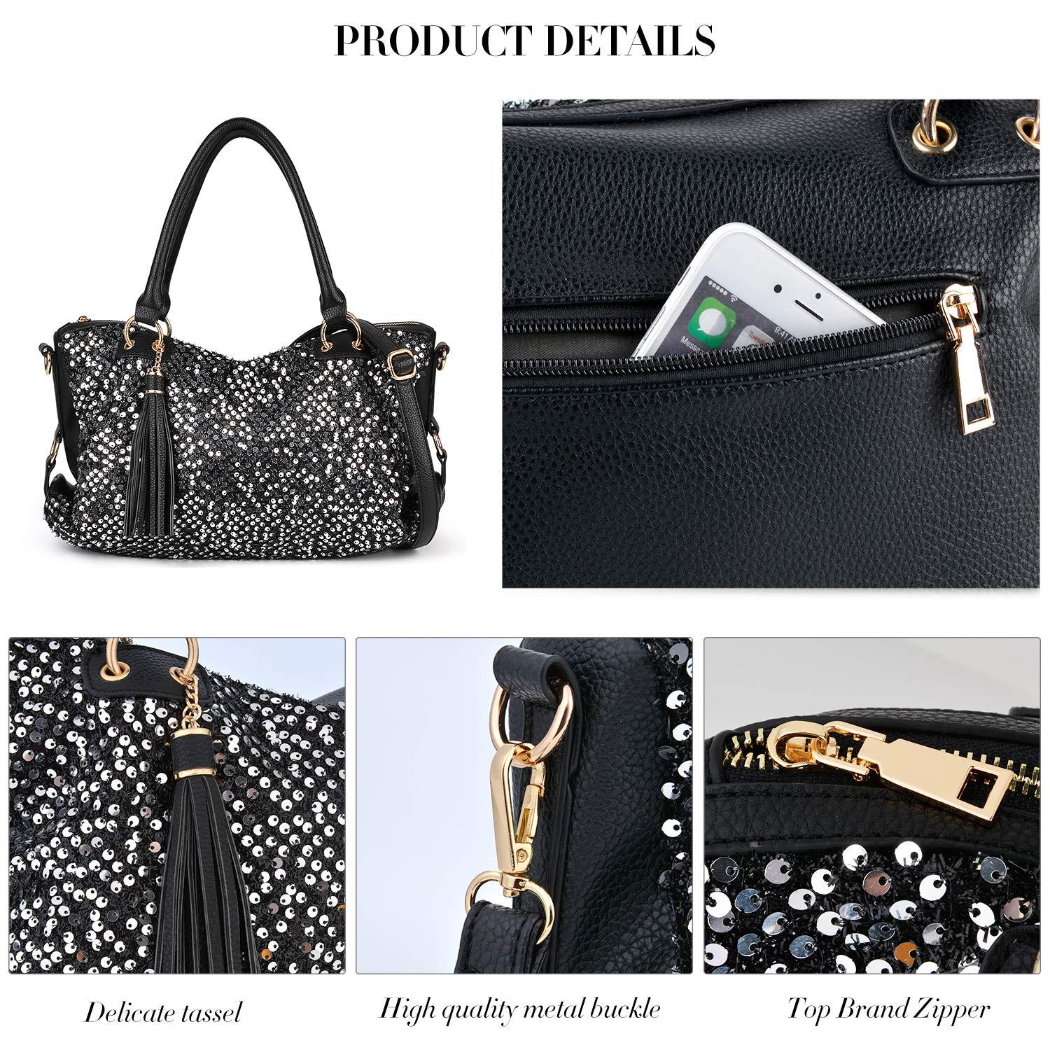 ed25e25eeb Amazon.com  COOFIT Black Purse Handbag Hobo Style Sequin PU Leather  Shoulder Bag for Women  Clothing