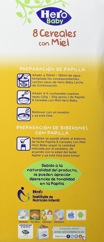 Hero Baby Natur Papilla 8 Cereales Miel - 1200 g: Amazon.es: Amazon Pantry