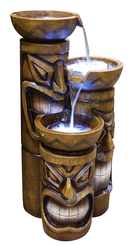 Alpine Corporation 3-Tier Tiki Head Water Fountain - Rustic Outdoor Waterfall for Garden, Patio, Deck, Porch - Yard Art Decor