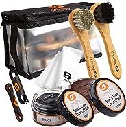 7pc Full Leather Shoe Polish Kit – 2x Brush, Buffing Cloth, Travel Case, Laces