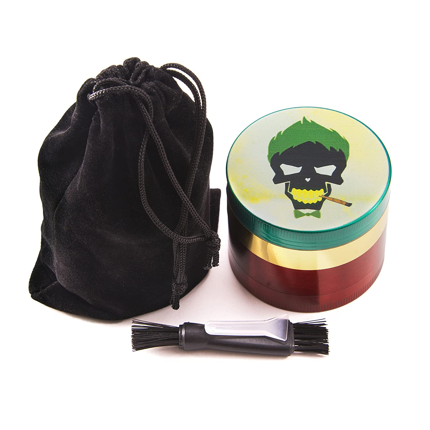 4 Piece Metal Grinder for Weed with Keef Catcher - 2.1 Inch - Rasta Color - Includes Accessories