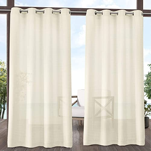 Exclusive Home Curtains Miami Sheer Textured Indoor Outdoor Grommet Top Curtain Panel Pair, 54×108, Ivory