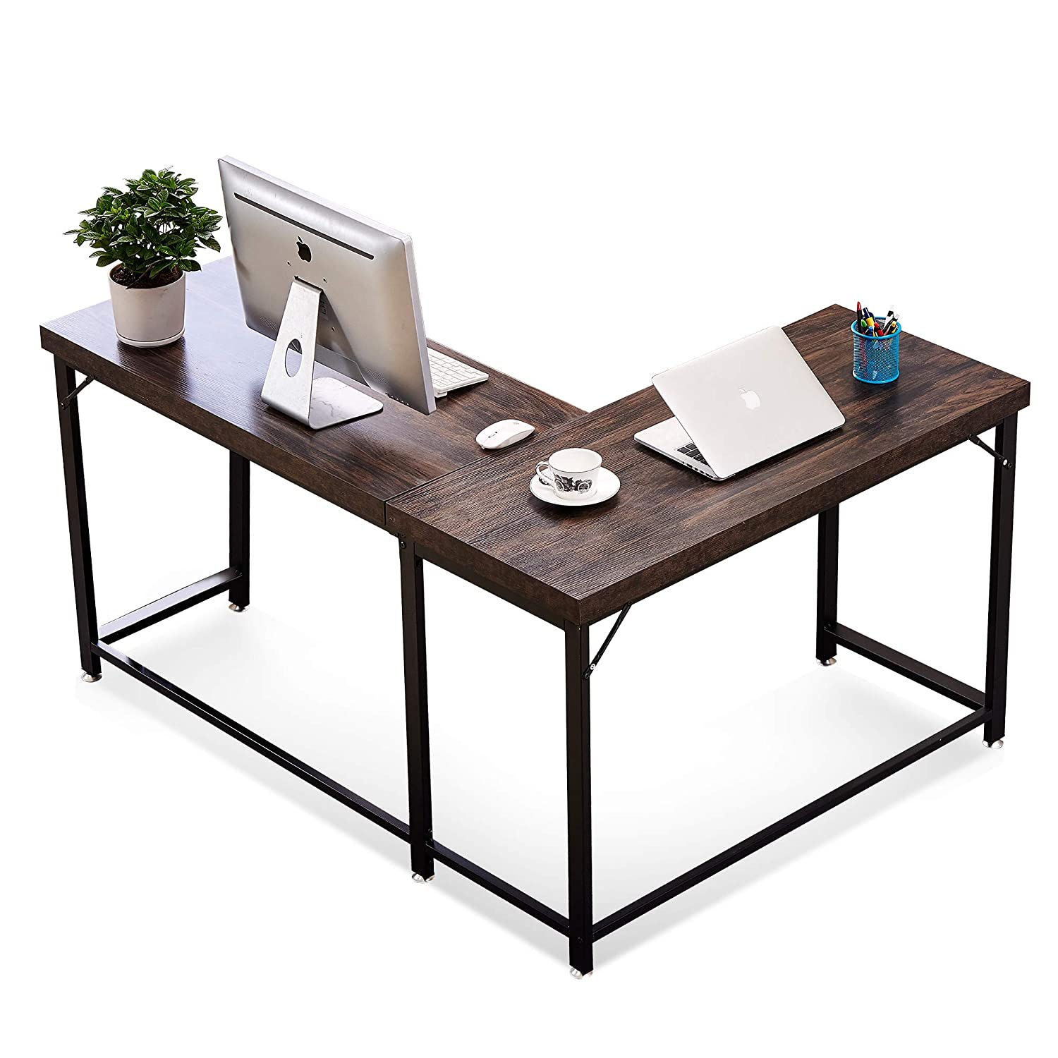 Modern Reversible L Shaped Computer Desk Mid Century Corner Gaming Desk Sturdy Office Writing Desk for Small Space Home Office Workstation with Large Table Top and Metal Leg 58 x 44 Inch