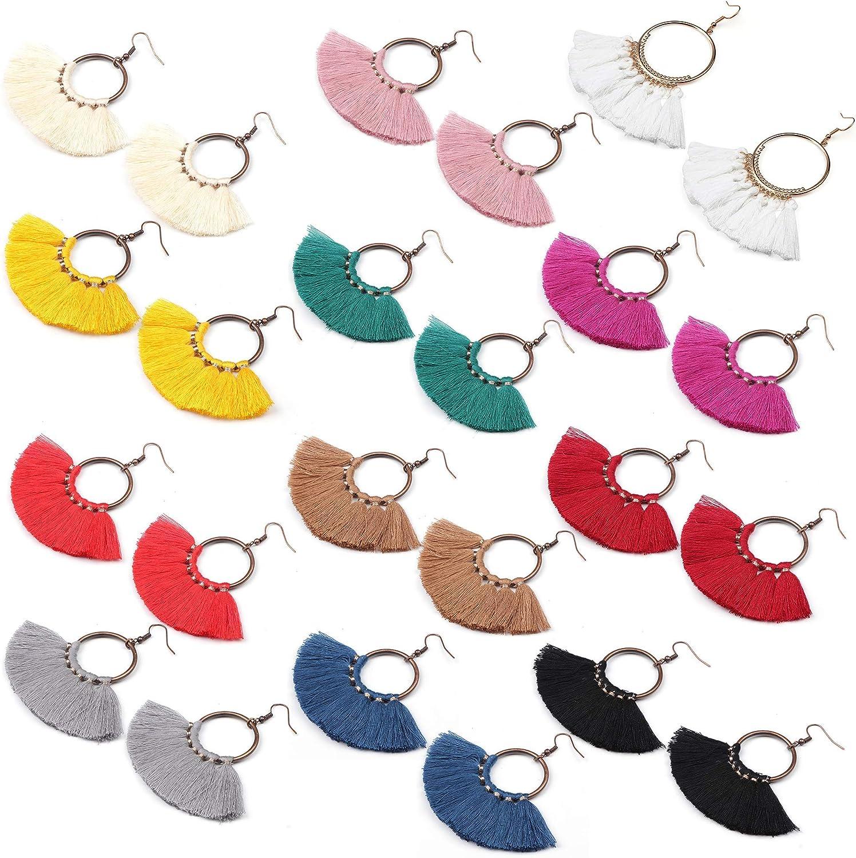 YADOCA 12 Paires D/éclaration Gland Cerceau Des boucles doreilles Color/é Grand En forme d/éventail Boucles doreilles Dangle Hook Tassel Earrings Set For Women Girls Bohemian